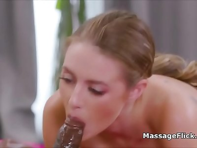 Massive Big black cock hardly fits in masseuses pretty mouth