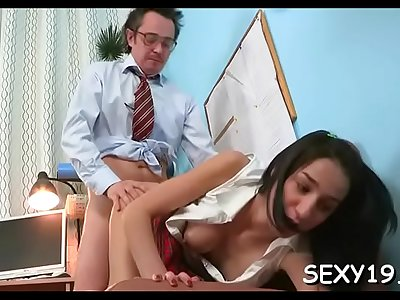 Pecker railing makes delightful black-haired youngster jism a lot