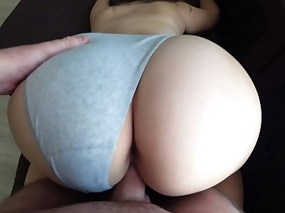 Rear end Style thru undies with a woman with a fat butt