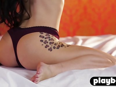 Tattooed model Meghan Leopard shows her amazing pouch after posing in hot undergarments