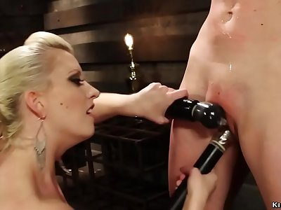 Mistress canes and fucktoys roped blonde