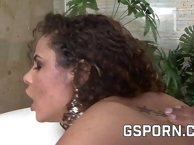 The sexy brazilian Monique Carvalho break her has with a rough dick