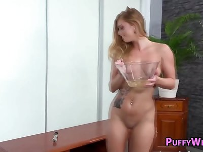 Teenie uses her fucktoys and piss to make herself jism by PuffyWeb
