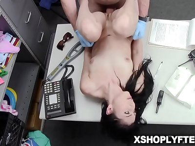 Thief on her knees and sucking big dick