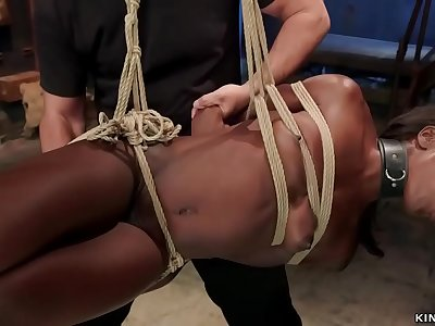 Captured victim in strappado torture gets banged