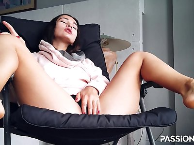 Beauty student woman masturbate beauty beaver in tabouret near window - PassionBunny