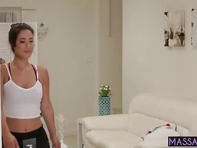 Sexy cockblowers Mummy Eva Lovia found hot stunners Scarlett Sage feeble spot and she used it