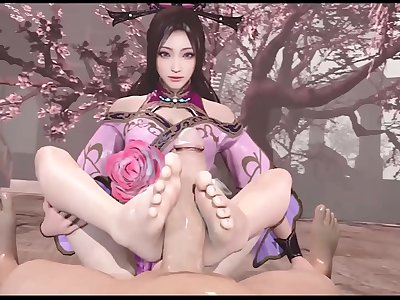 3D hentai bellowing footjob compilations