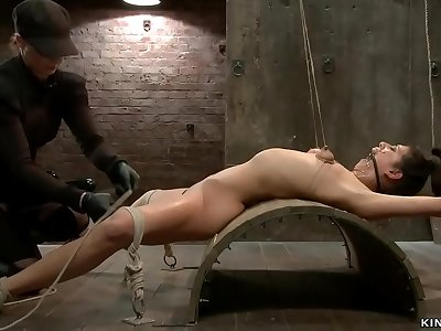 Dickblowers in back arch restrain bondage whipped