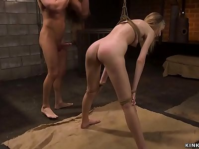Skinny roped blonde take big dick