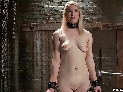 Zippered blonde fucked by gimp
