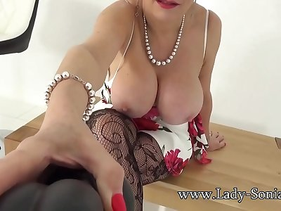 Big titty mature Lady Sonia wants to see you suck hard-on