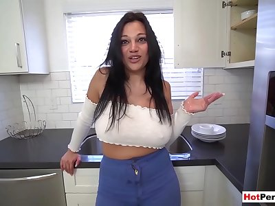 Stepson dives into his Mummy stepmothers Mona Azar well experienced cunt