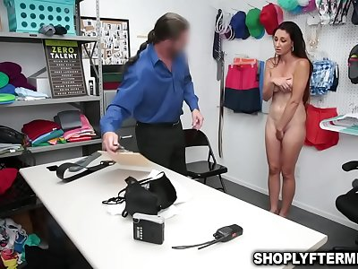 Shoplifter Mummy no choice but to let the officer fuck her taut cooch