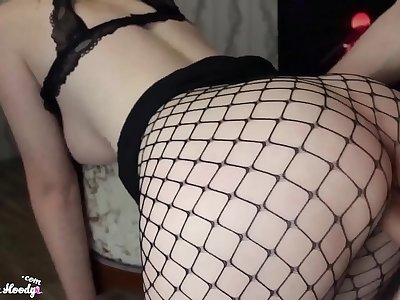 Sexy Honey in Mesh Taut Deepthroat and Doggystyle Fuck - Jizz flow
