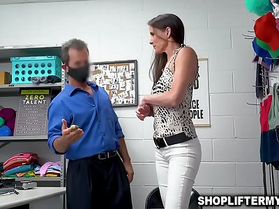 Horny security guard Rusty Smallish caught on CCTV fucking with hot Mummy thief named Sofia Marie after she shoplifts some items from the store.