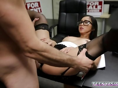Lucky employer gets to fuck one hot Asian honey