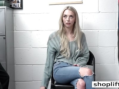 Petite teenage Lily Larimar fucks hard in the policemans office after he caught her