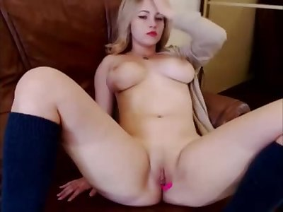 Stocking thick natural tits blonde webcam spunking