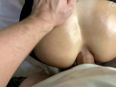 Stepfather after school toughly fucked his stepdaughter FeralBerryy in Assfuck tearing her pantyhose