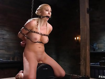 Chained blonde is made rail Sybian saddle