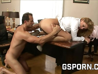 The big-titted blonde Brooklyn Lee have a dual jism in the office