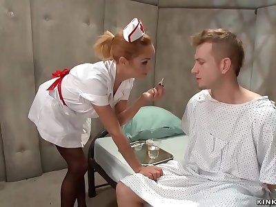 Psycho patient assfuck fucks roped nurse