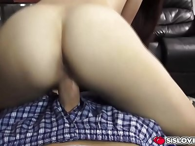 Sexy stepsister takes in her stepbrothers shaft deep into her taut beaver