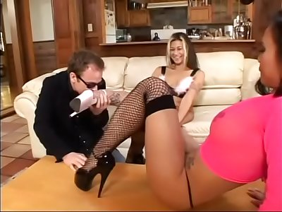 Dude who is nuts about female gams licks feet of charming blonde honey Cindy Crawford while nasty Asian floozie Mya Luanna is providing footjob him