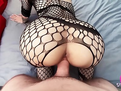 Fishnet Blonde Sensuous Deep-throats Big Dick and Takes Hard Cat o\' nine tails Fuck, Jism in Mouth