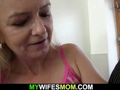 Hairy old mom inlaw entices boy into taboo hookup