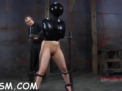 Ball-gagged honey gets lusty tormenting