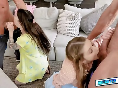 Angry daddies interchanging stepdaughters for some sexual penalty