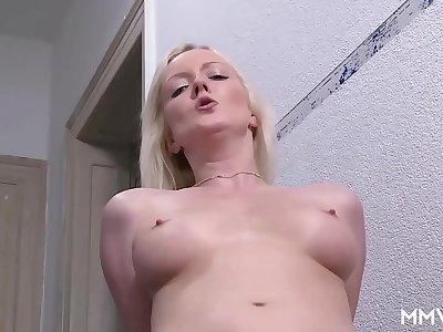 Perky blonde fucks at work