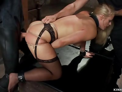Buxomy blonde Mummy gaped pouch fucked