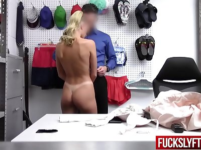 Emma Hix In Officer Concentrate On Searching Goods