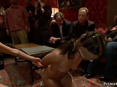 Roped whore group fucked in public