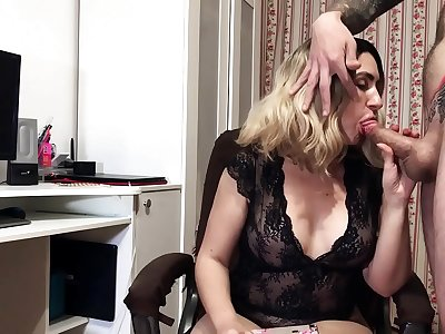 Big-titted Blonde Voluptuous Deep-throats Big Dick and Takes Jizz in Mouth