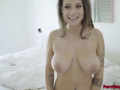 Big tits, big ballsack Stepsister, Indica Flower fucked by Stepbrother POV