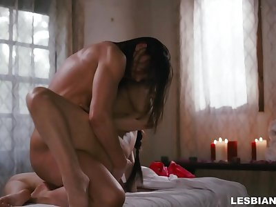 Big-titted lesbo gobbles her masseur's Asian vagina